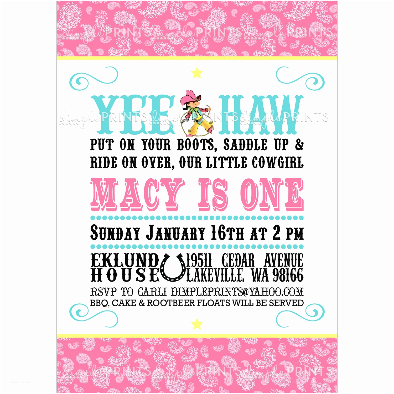 Cowgirl Party Invitations Cowgirl Birthday Invitation Digital Printable Dimple
