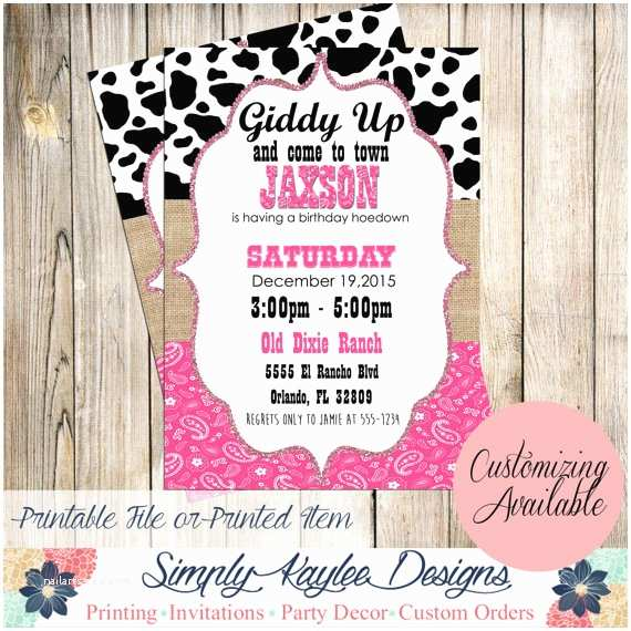 Cowgirl Party Invitations Cowgirl Birthday Party Invitation Western by