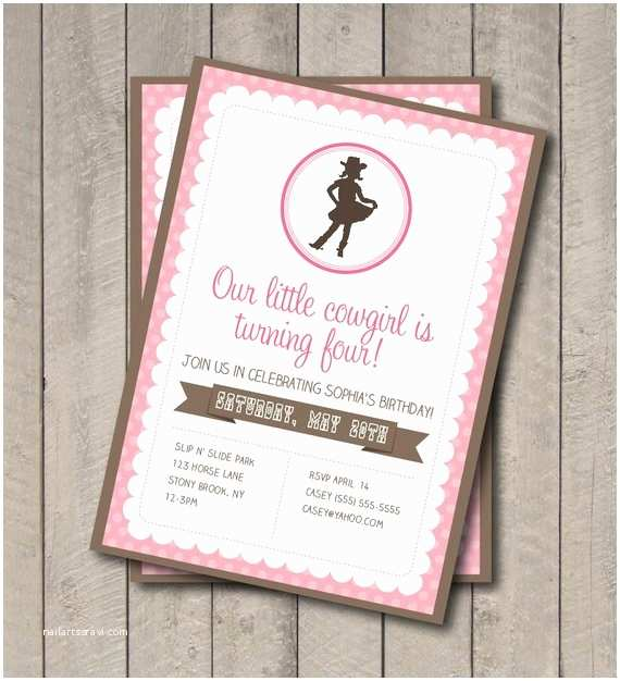 Cowgirl Party Invitations Cowgirl Birthday Party Invite Pink & Brown Cowgirl