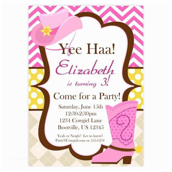 Cowgirl Party Invitations Cowgirl Invitation Pink Chevron Argyle Polka Dot Cowgirl