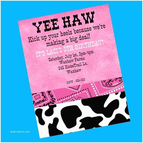 Cowgirl Party Invitations Girls Cowgirl Country Western Pink Bandana Cow Print