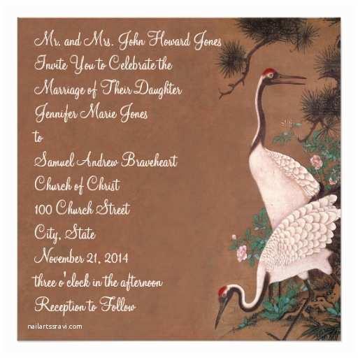 Crane Wedding Invitations Vintage Japanese Cranes Wedding Invitation Cranes