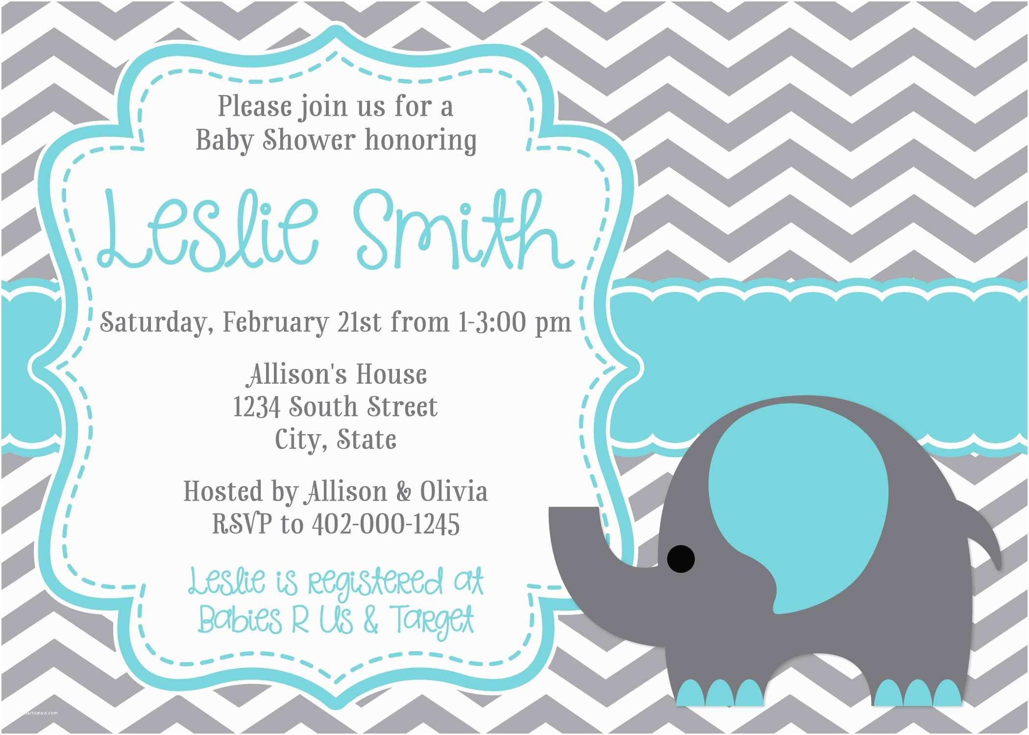 Create Baby Shower Invitations Baby Elephant Baby Shower Invitations