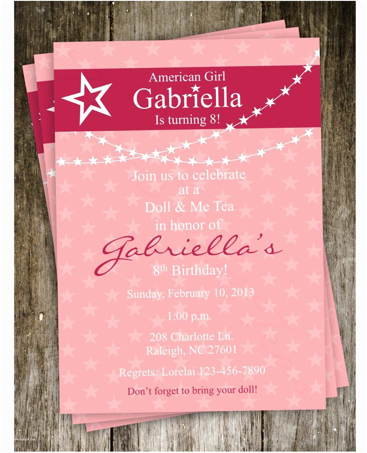 Create Birthday Invitations Amazing American Girl Birthday Party Invitations