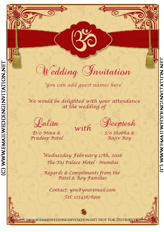 Create Indian Wedding Invitation Card Online Free Diy Email Indian Wedding Card Template Baroque Style