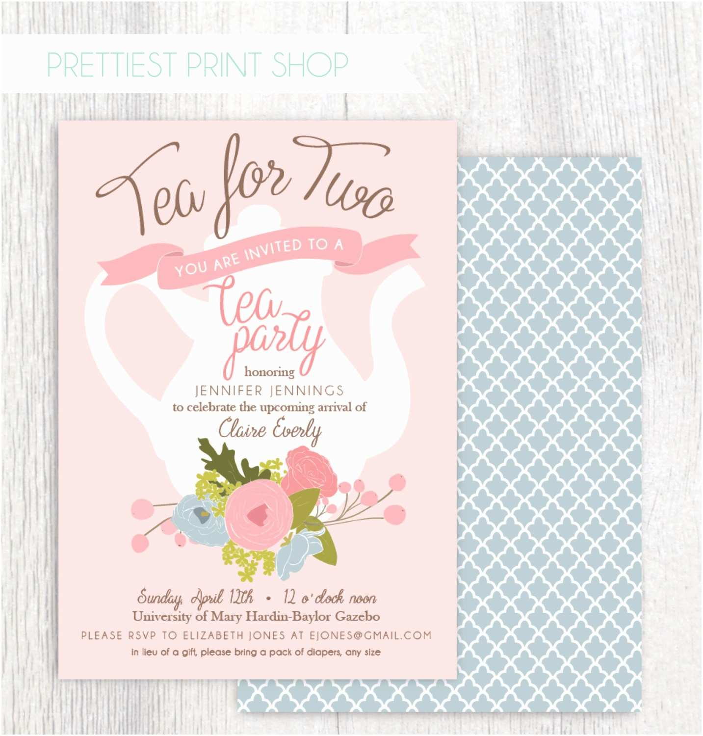 Creative Baby Shower Invitations Tea Party Baby Shower Invitations