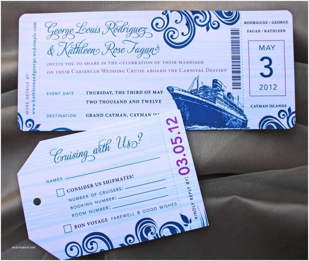Cruise Wedding Invitations Blue Swirl With Fuchsia Accents Cruise Boarding
