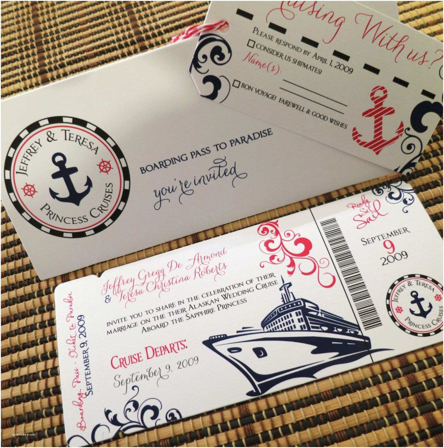 Cruise Wedding Invitations Boarding Pass Invitation or Save the Date