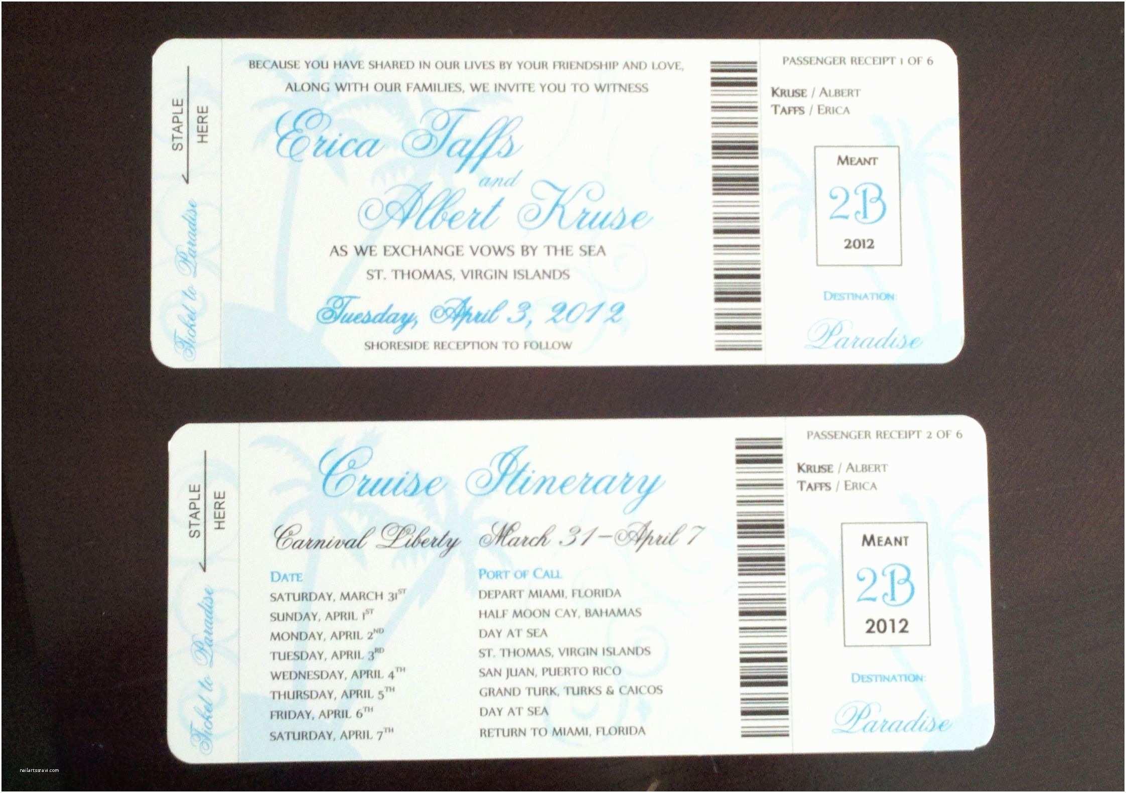Cruise Wedding Invitations Cruise Boarding Pass