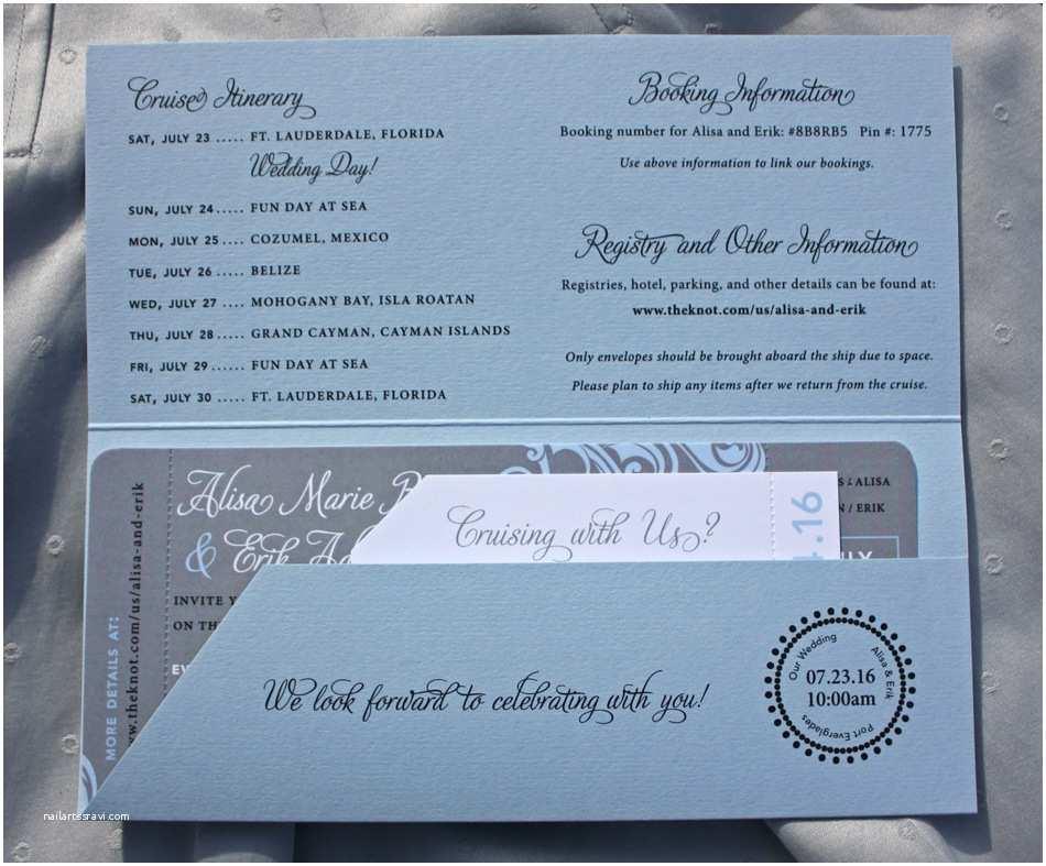 Cruise Wedding Invitations Light Blue & Gray Swirls and Cruise Ship Boarding Pass