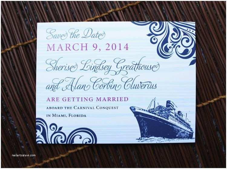 Cruise Wedding Invitations Navy & Fuchsia Swirls & Cruise Ship Wedding Save The