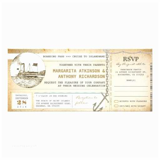 Cruise Wedding Invitations Old Boarding Pass Cruise Wedding Invites With