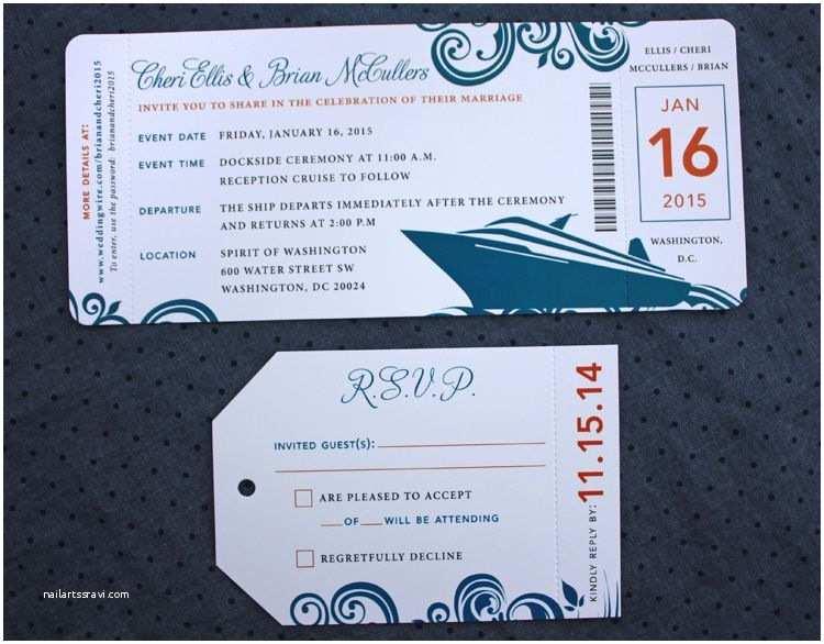 Cruise Wedding Invitations orange & Dark Blue Swirl & Cruise Ship Boarding Pass