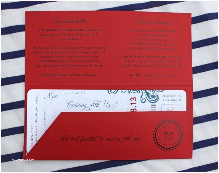 Cruise  Invitations Red & Blue Swirl Yacht Cruise Boarding Pass