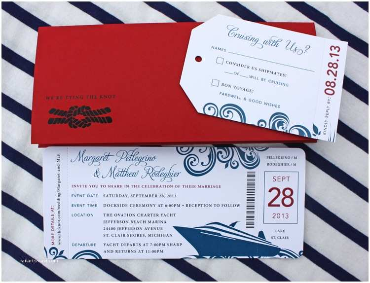 Cruise Wedding Invitations Red & Blue Swirl Yacht Cruise Boarding Pass Wedding