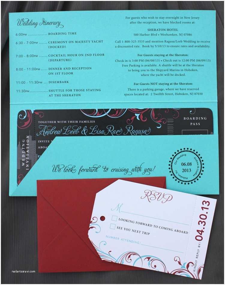 Wedding Invitations Turquoise Red & Black New York & Swirls Yacht