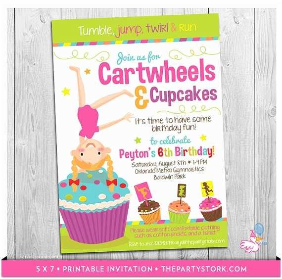 Cupcake Birthday Invitations Cartwheels and Cupcakes Invitation Printable Girls