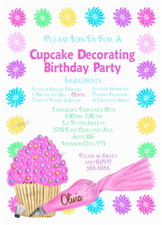 Cupcake Birthday Invitations Cupcake Decorating Invitations Cupcake Party Baking