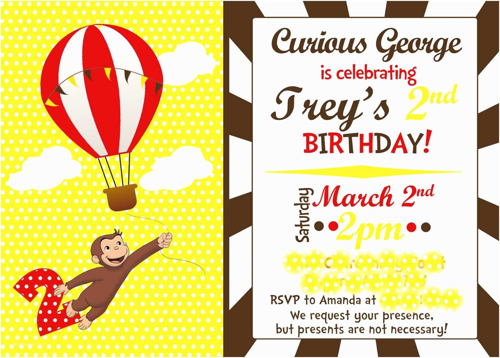 Curious George Birthday Invitations Amanda S Annotations Trey 2nd