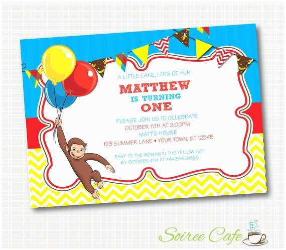 Curious George Birthday Invitations Curious George Birthday Invitation Digital File Emailed