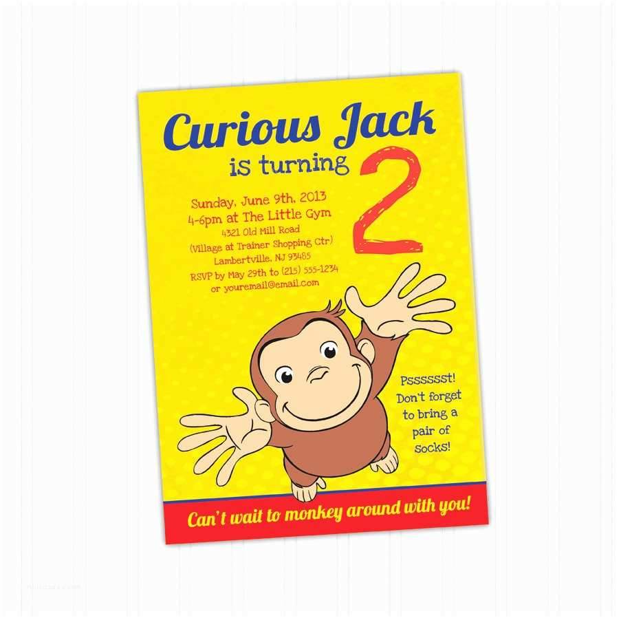 Curious George Birthday Invitations Curious George Birthday Invitation Printable Download Print at