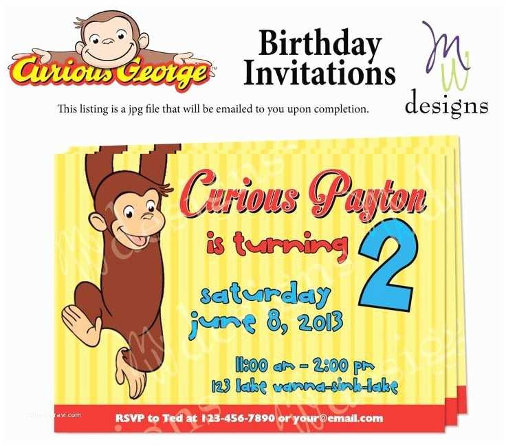 Curious George Birthday Invitations Curious George Birthday Invitation Printable