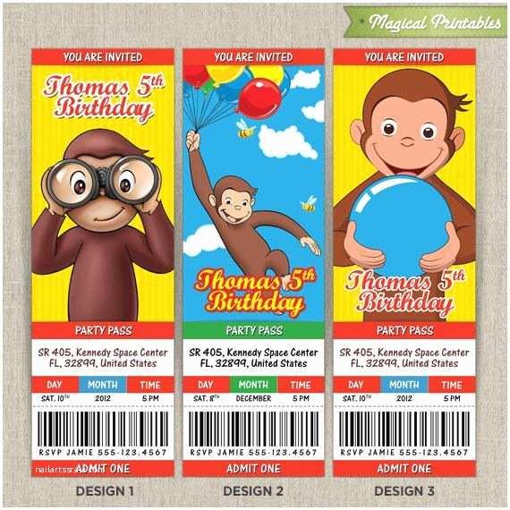 Curious George Birthday Invitations Personalized Curious George Birthday Ticket Invitation