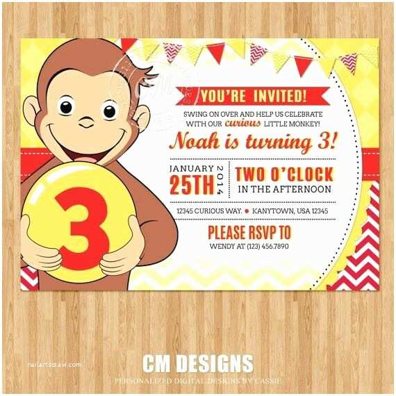 Curious George Party Invitations 26 Best Birthday Invitation Cards Images On Pinterest