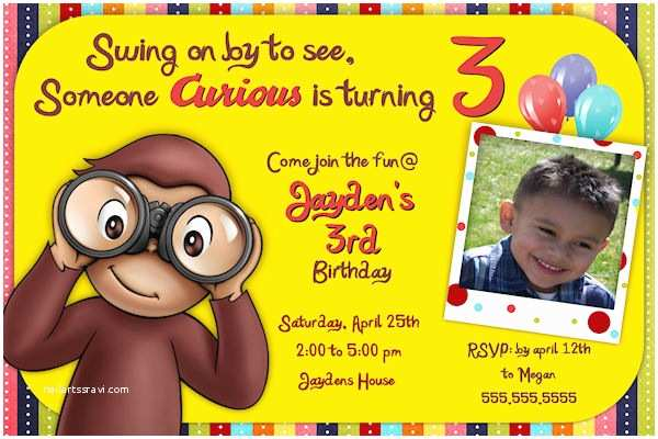 Curious George Party Invitations 3rd Curious George Birthday Invitations