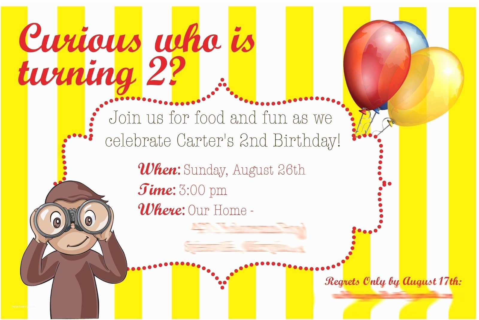 Curious George Party Invitations Aliya Rinaldi Designs Invitations Logos & Graphic Design