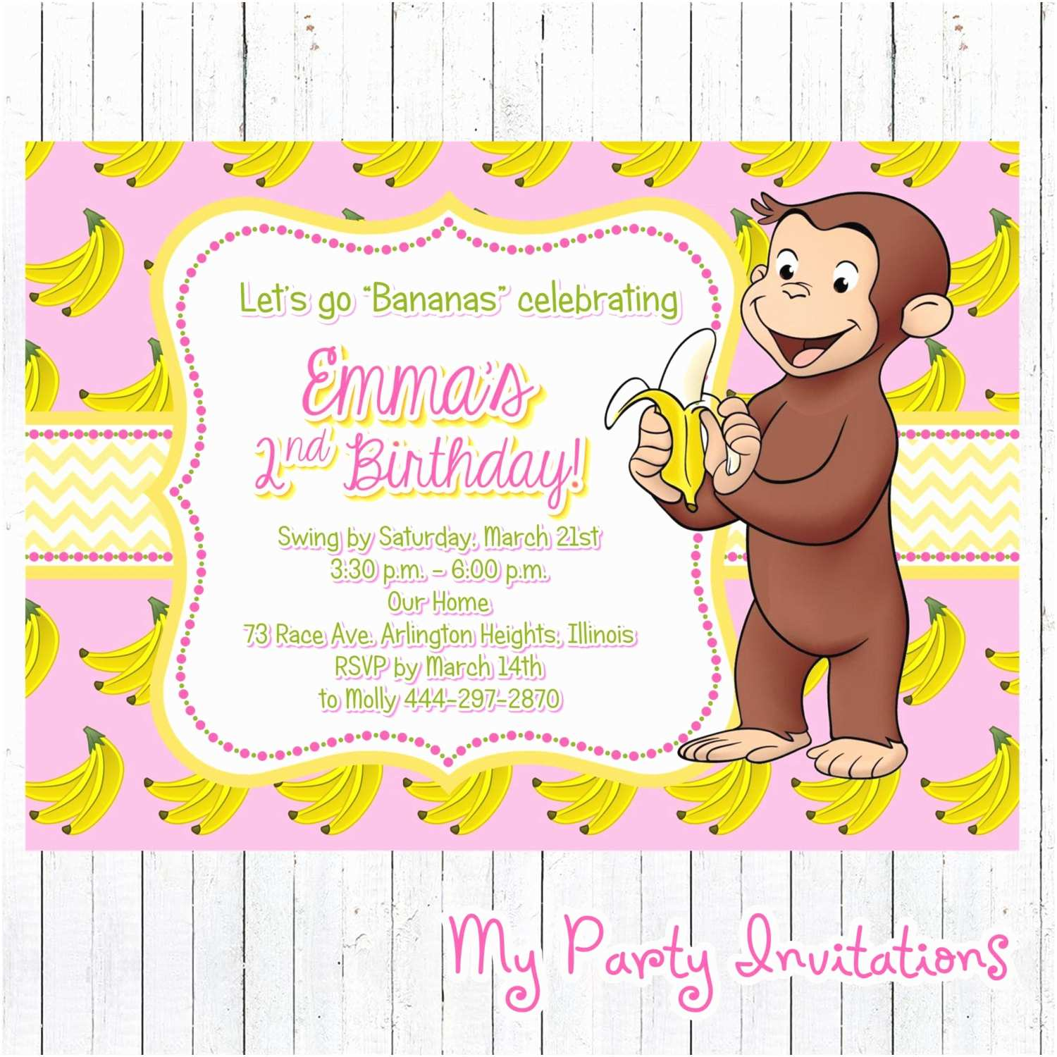 Curious George Party Invitations Curious George Birthday Invitation Banana by
