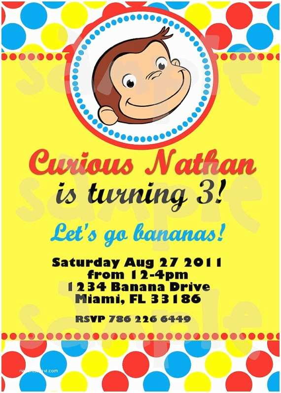 Curious George Party Invitations Curious George Birthday Invitation by Heartsandscraps On