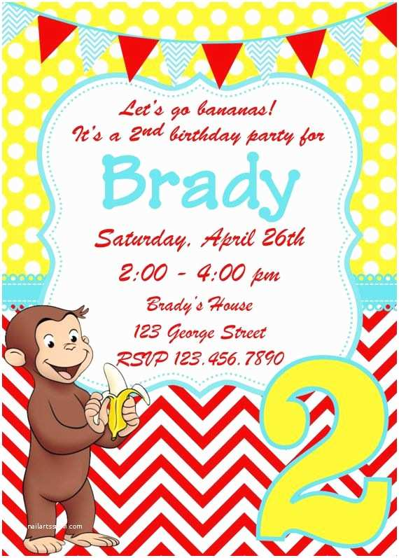 Curious George Party Invitations Curious George Birthday Invitation by Whitetulippaperie On
