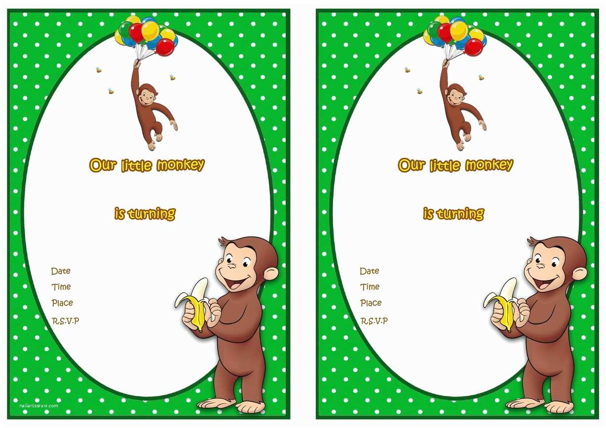Curious George Party Invitations Curious George Birthday Invitations – Birthday Printable