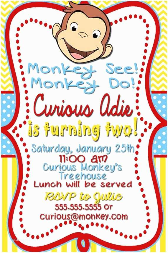 Curious George Party Invitations Curious George Birthday Invitations Off In Description