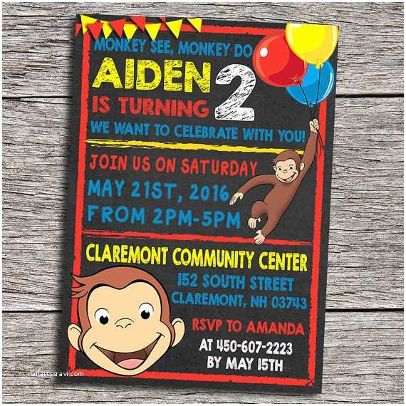 Curious George Party Invitations Curious George Birthday Party Invitation by Dottydigitalparty