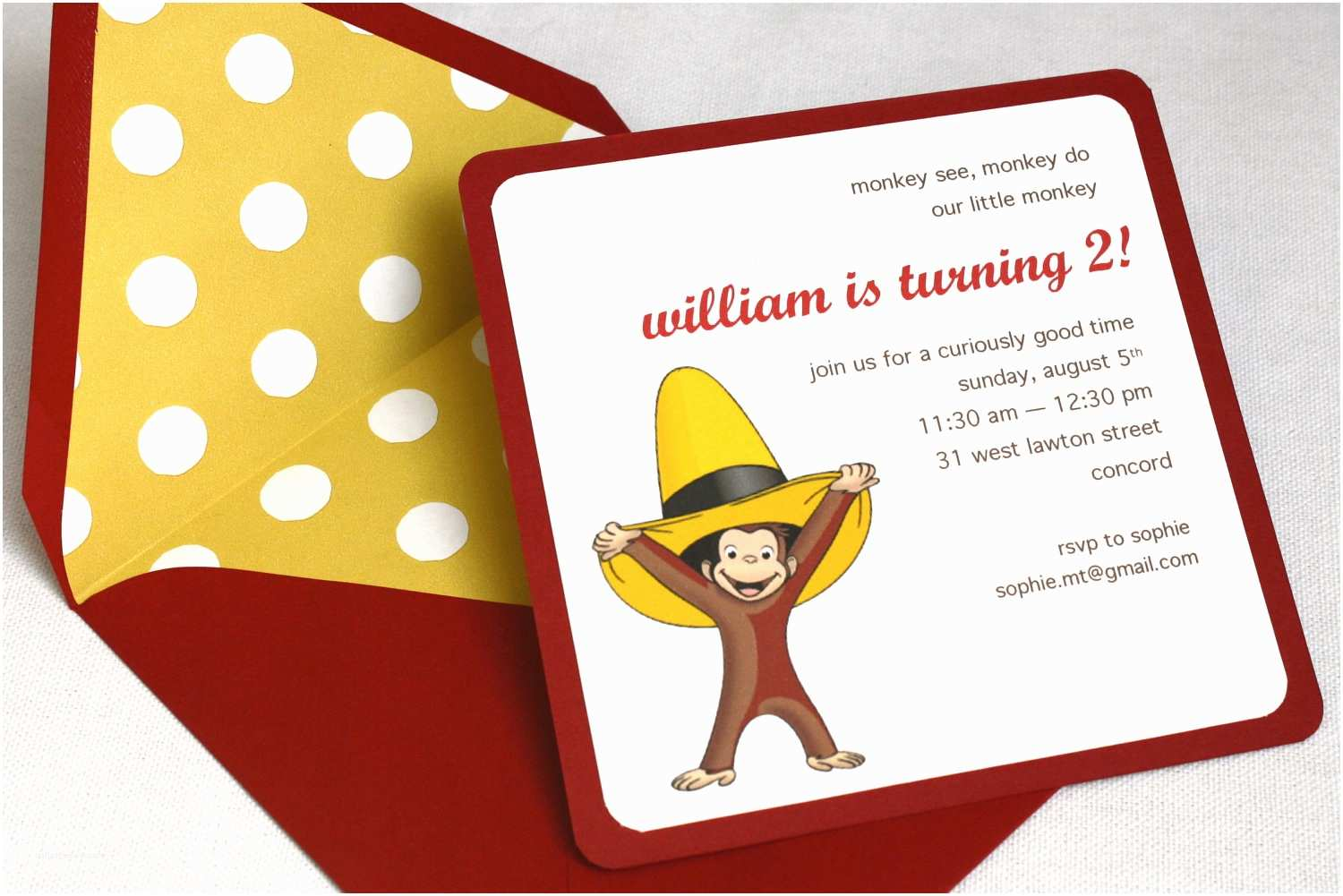 Curious George Party Invitations Curious George Birthday Party Invitation Square Envelope and