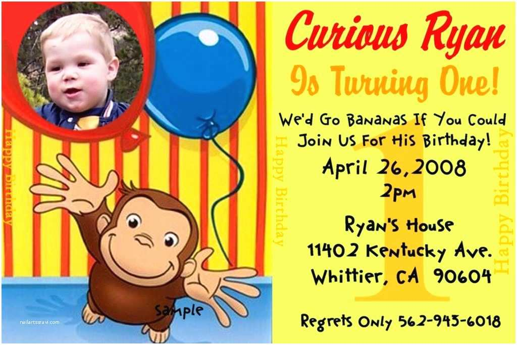 Curious George Party Invitations Curious George Birthday Party