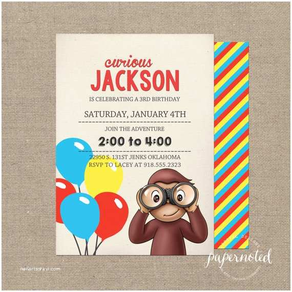 Curious George Party Invitations Curious George Invitation Curious George by Papernoteandco