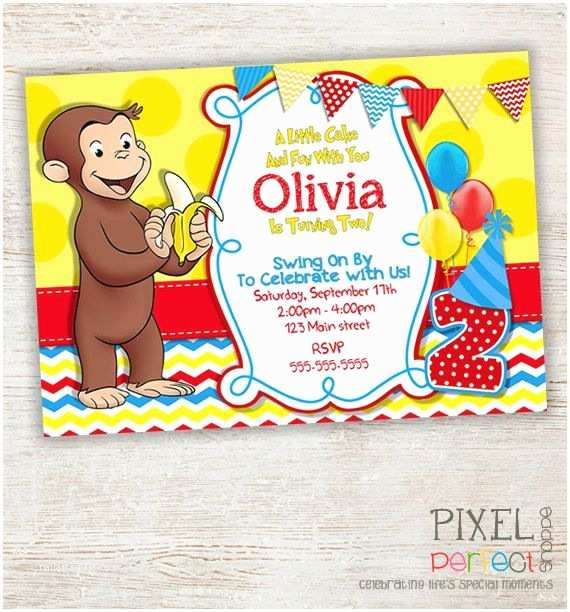 Curious George Party Invitations Curious George Invitation Curious George Invitation