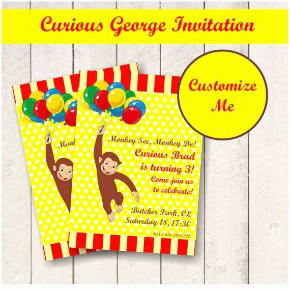 Curious George Party Invitations Curious George Party Invitations – Gangcraft