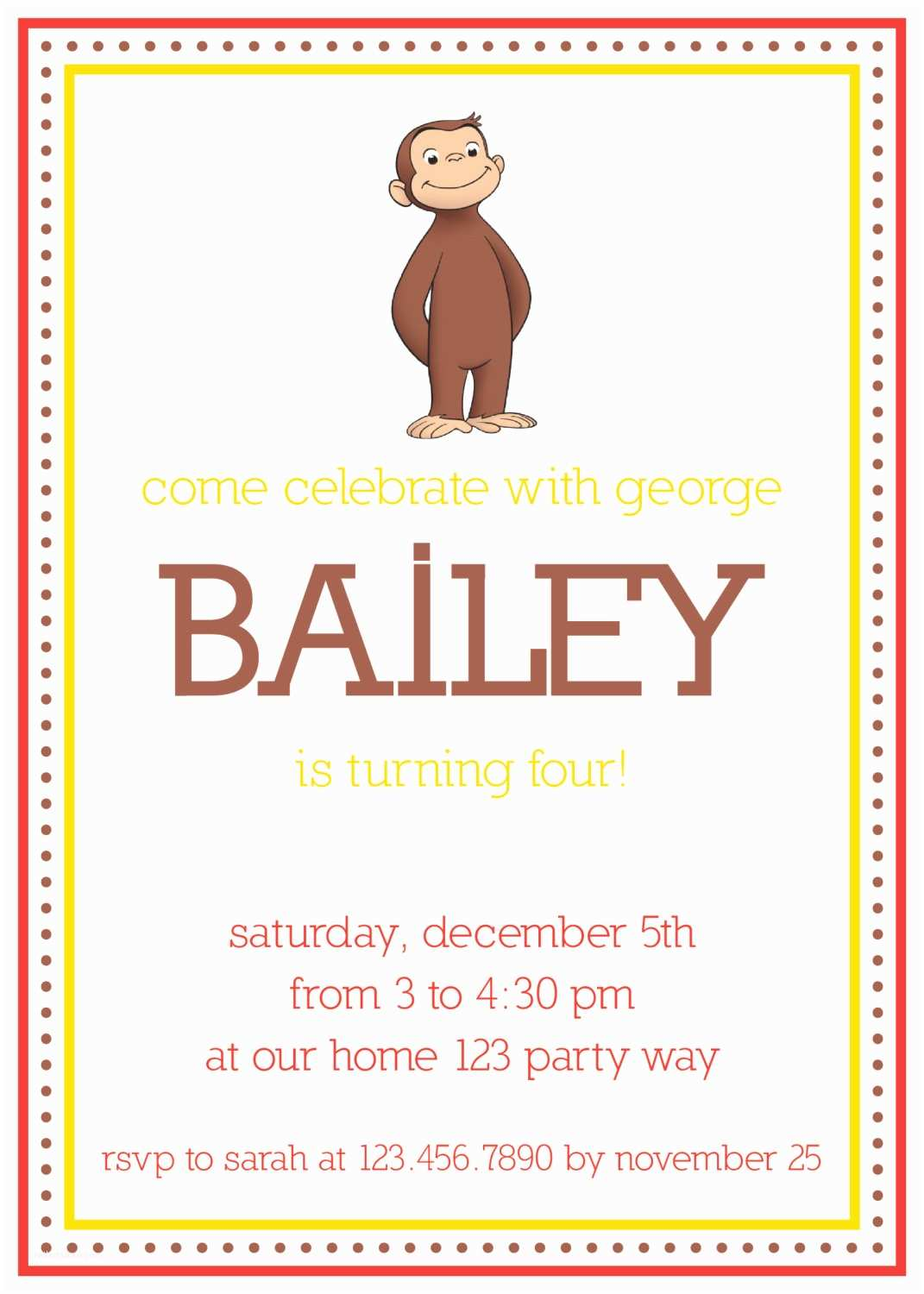 Curious George Party Invitations Items Similar to Curious George Birthday Invitation On Etsy