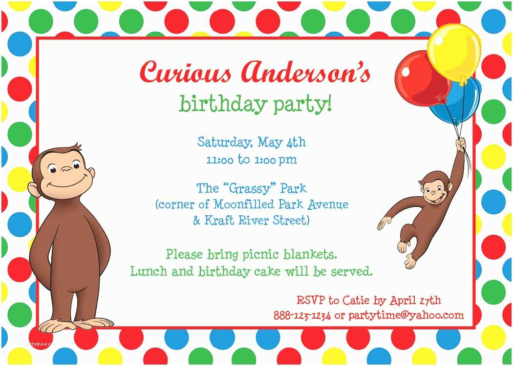 Curious George Party Invitations Park Talk Printables
