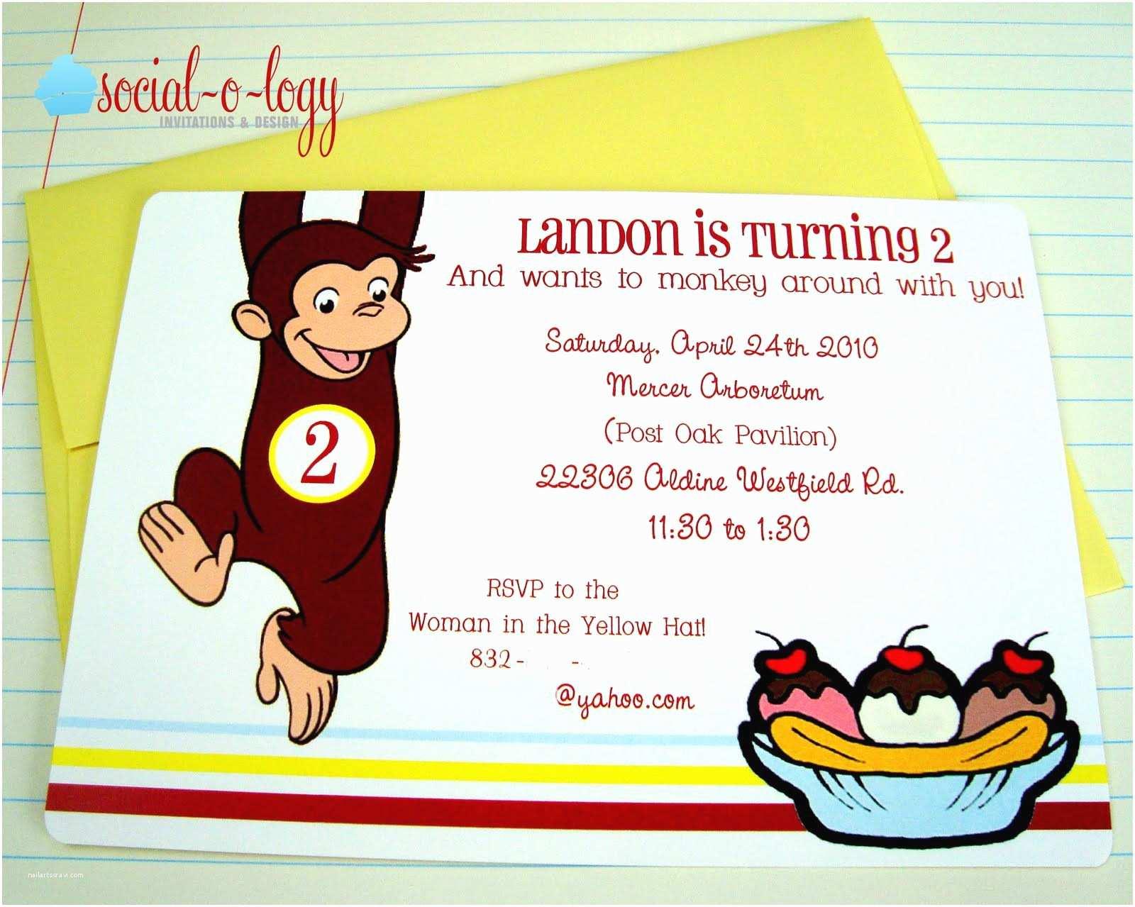 Curious George Party Invitations Unique Ideas for Curious George Birthday Invitations