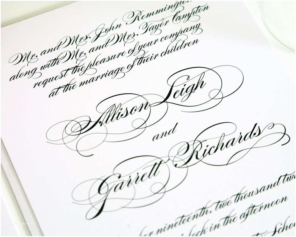 Cursive Wedding Invitations All Script Elegant Wedding Invitation Black by