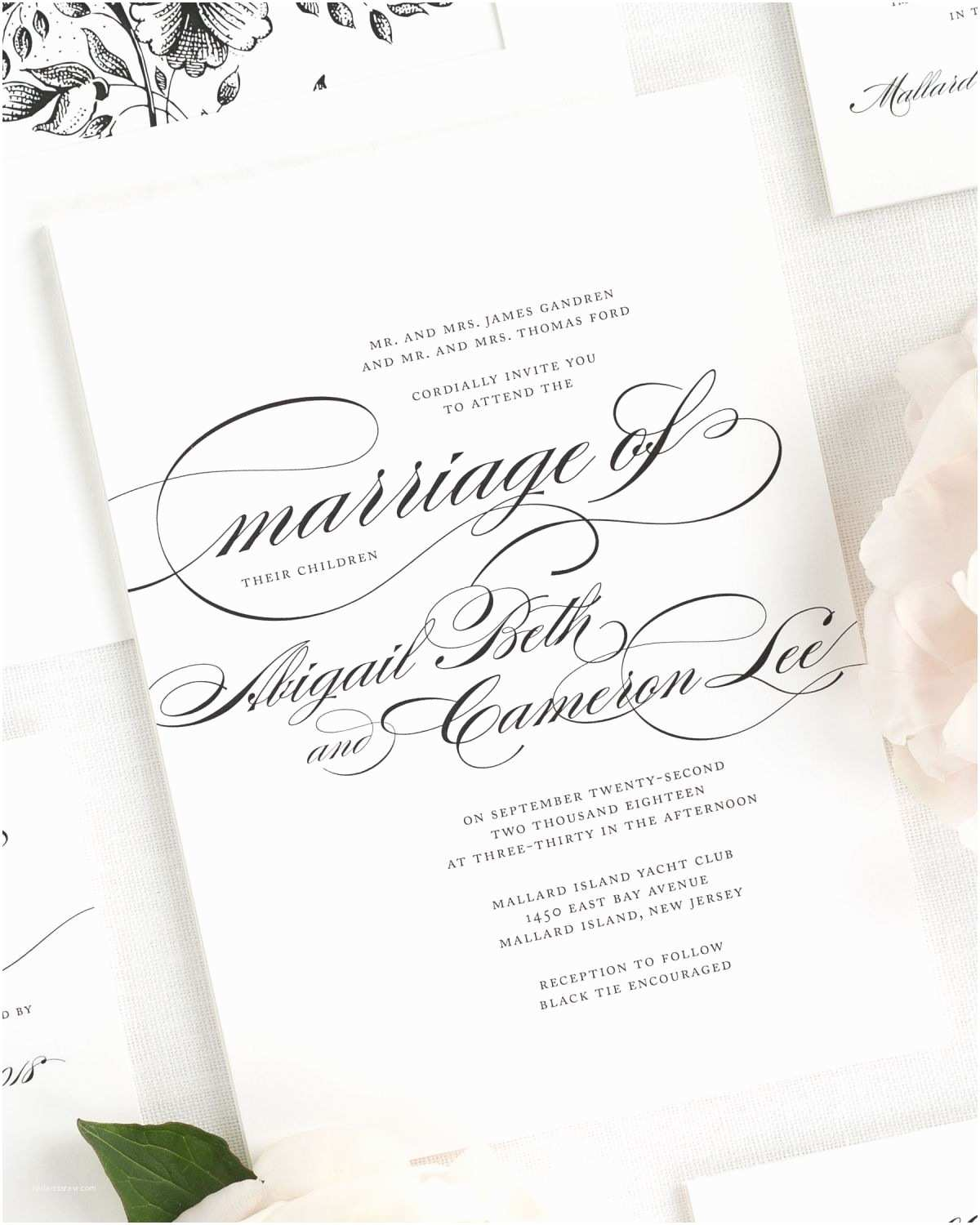 Cursive Wedding Invitations Beautiful Wedding Invitation In Black and White with
