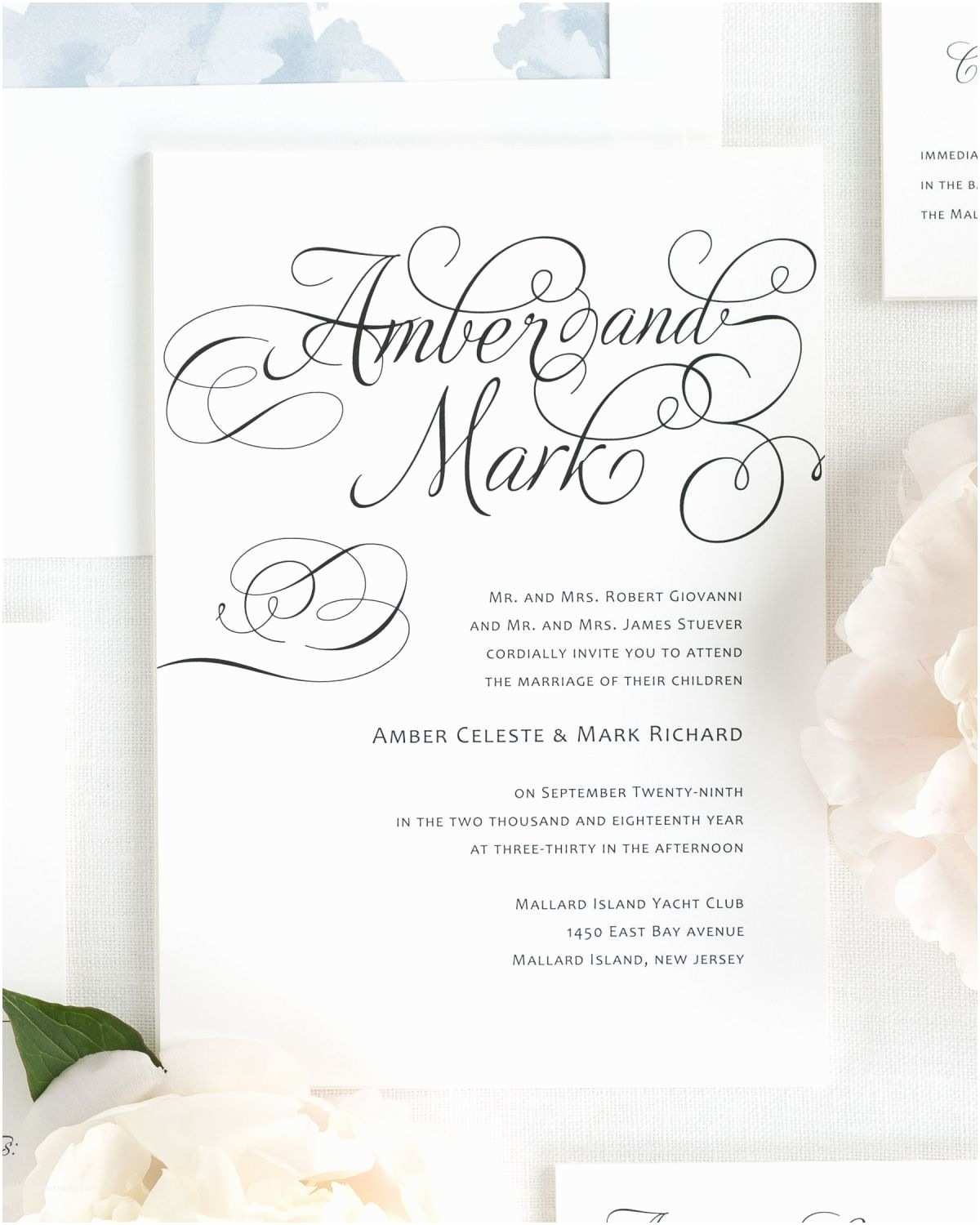 Cursive Wedding Invitations Charming Script Wedding Invitations Wedding Invitations