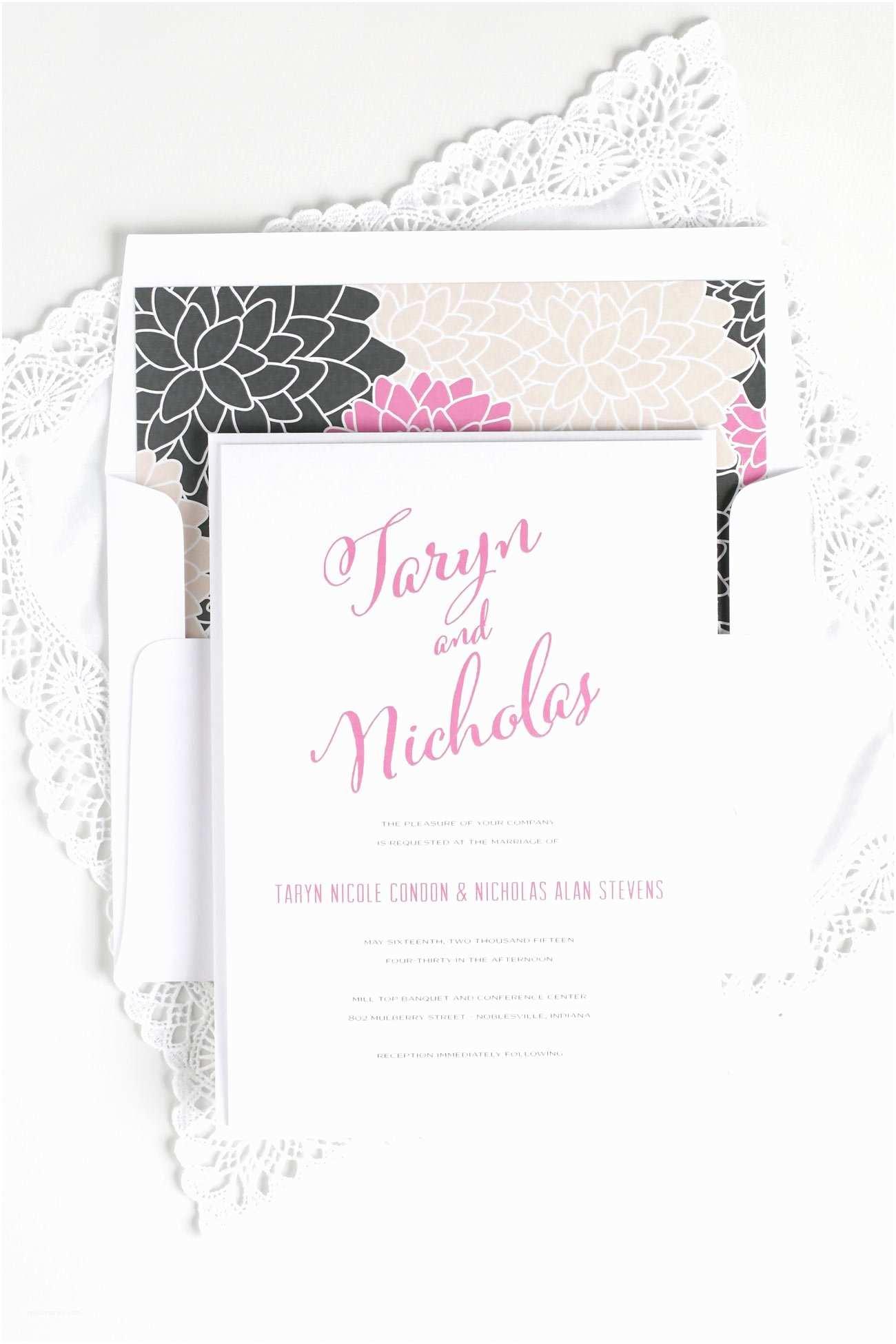 Cursive  Invitations Floral  Invitations With Modern Script –