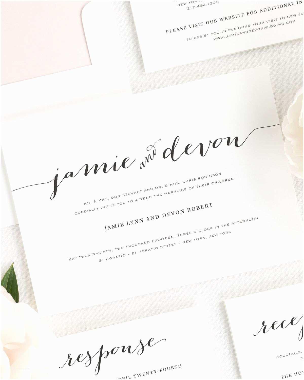 Cursive Wedding Invitations Flowing Script Wedding Invitations Wedding Invitations