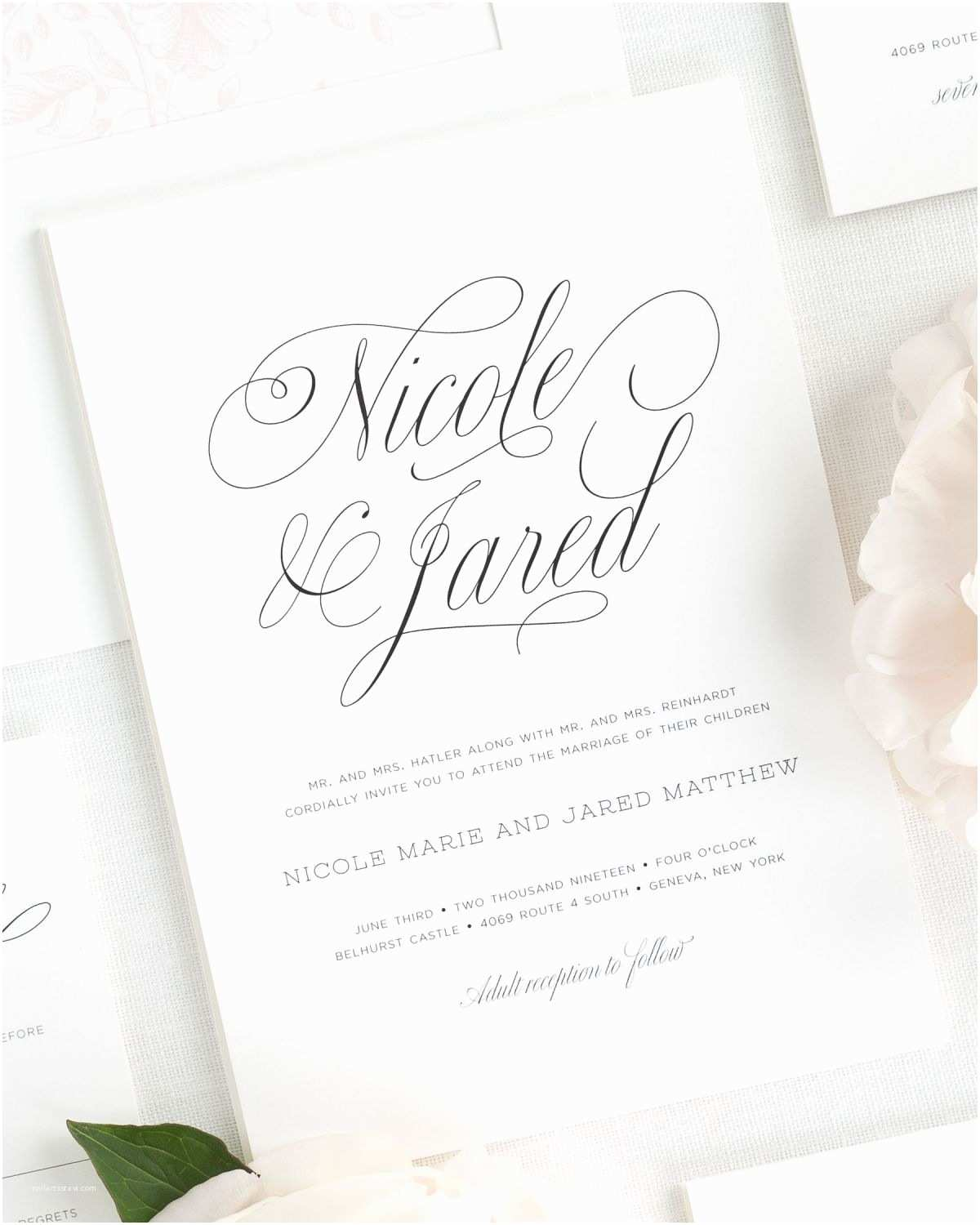 garden script wedding invitations